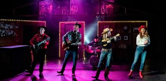 James Thackeray, Tony Hawks, Duncan Wisbey, Georgina Field and Debra Stephenson in Midlife Cowboy. Photo: Adam Trigg