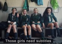 The Derry Girls in the Channel 4 video. Photo: YouTube/Channel 4