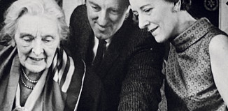 Hazel Vincent Wallace (right) with Sybil Thorndike and architect Roderick Ham. Photo: Leatherhead Theatre