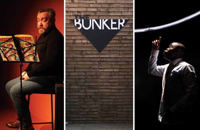 Gary Kitching in Bacon Knees and Sausage Fingers, The Bunker, Anyebe Godwin in Little Baby Jesus. Photo: Lauren Stone