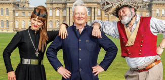 James Cundall (centre) with actors Leandra Ashton and Paul Hawkyard at the press launch of Shakespeare's Rose Theatre at Blenheim Palace. Photo: Charlotte Graham