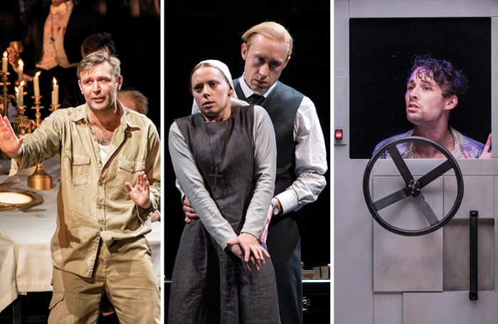 Philip Cairns as Peter Gynt at the National Theatre, Lucy Phelps and Sandy Grierson in Measure for Measure, Keegan Joyce in Solaris. Photos: Manuel Harlan/Helen Maybanks/Mihaela Bodlovic