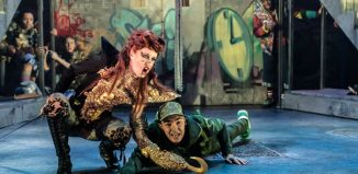 Nia Gwynne and Peter Lawrence in Peter Pan at Birmingham Rep. Photo: Johan Persson