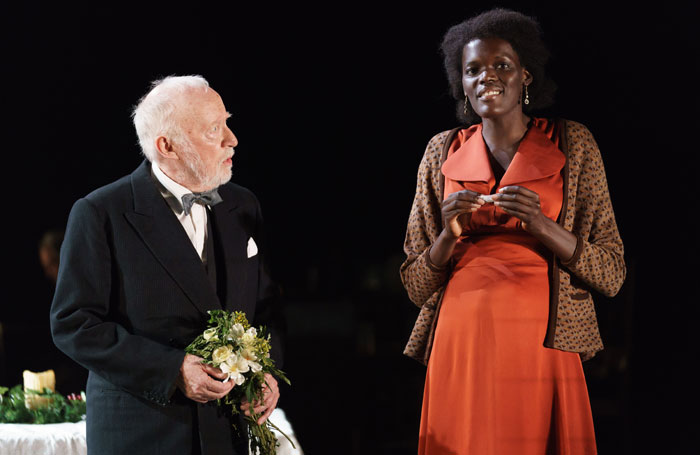 Jim Norton and Sheila Atim in Girl from the North Country at London's Old Vic in 2017. Photo: Manuel Harlan