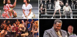 Casting directors for these productions are among those recognised in the theatre categories (clockwise from top left}: Small Island, Evita, Death of a Salesman and Come from Away. Photos: Tristram Kenton/Marc Brenner/Brinkhoff Moegenburg/Matthew Murphy