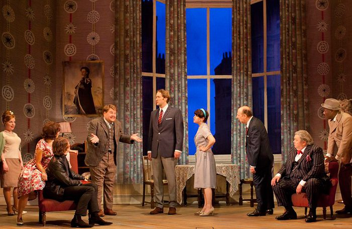 The cast of National Theatre's One Man, Two Guvnors in 2011. Photo: Johan Persson, supplied by the National Theatre for National Theatre at Home