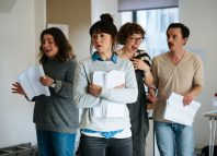 The cast in rehearsals for Last Easter at the Orange Tree Theatre in Richmond. Photo: Helen Murray